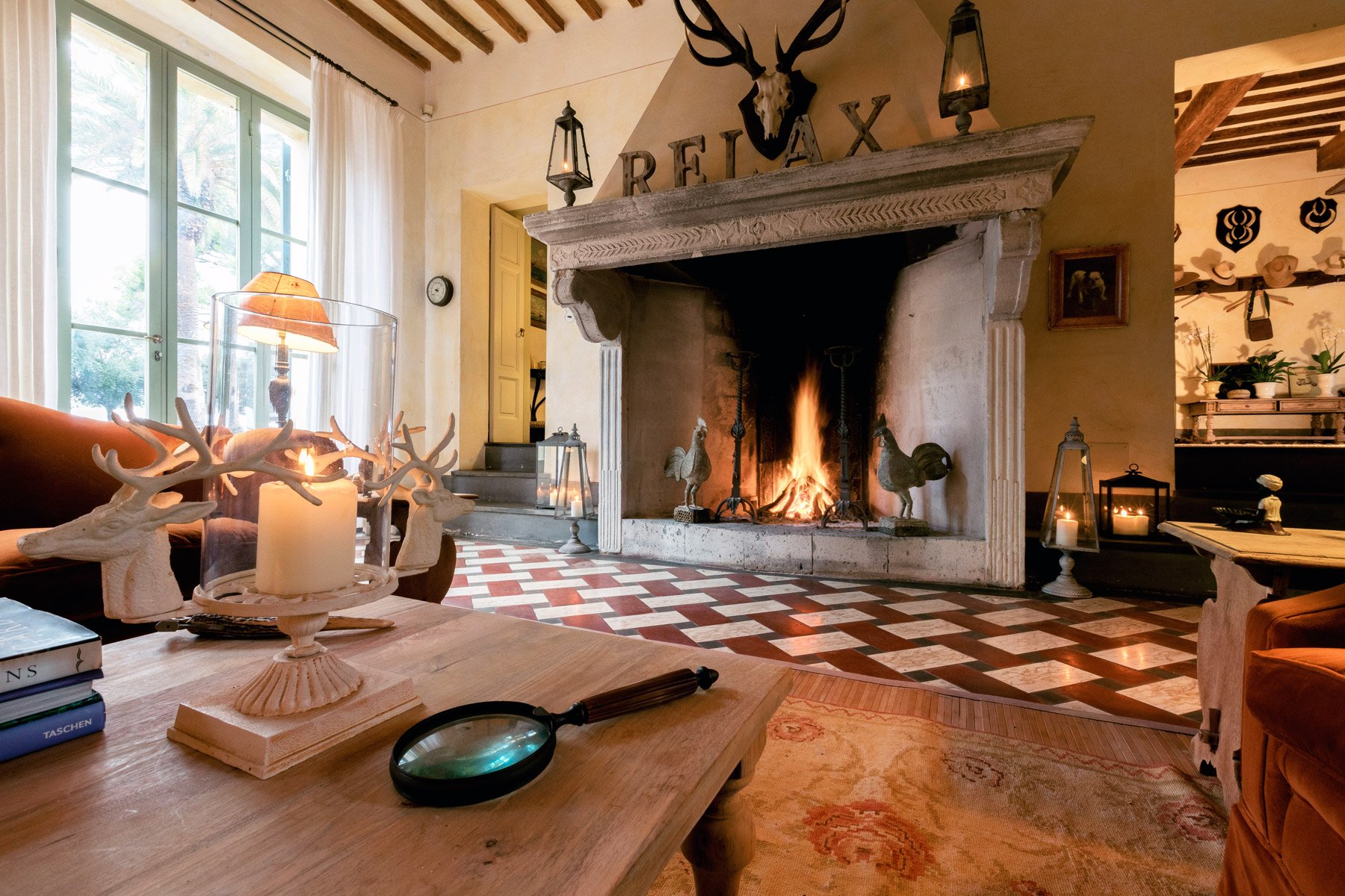 Fireplace in an Argentario villa