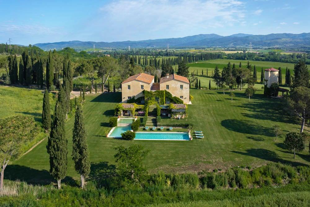 maremma arial view villa